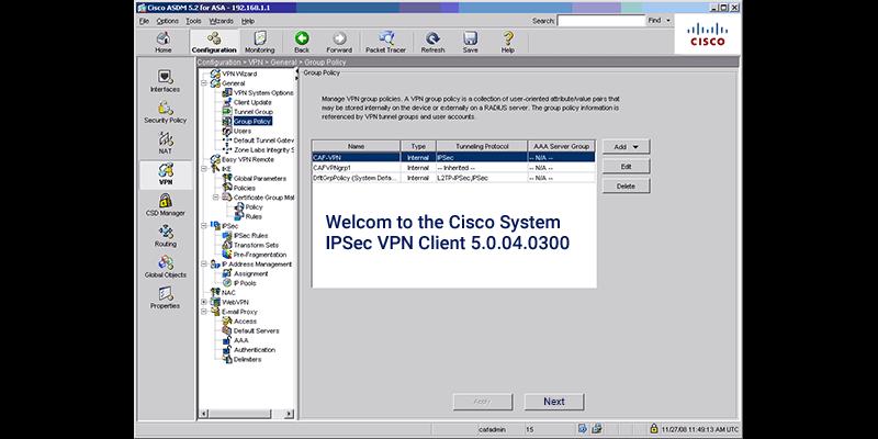 IPSec VPN client v5.0.04.0300